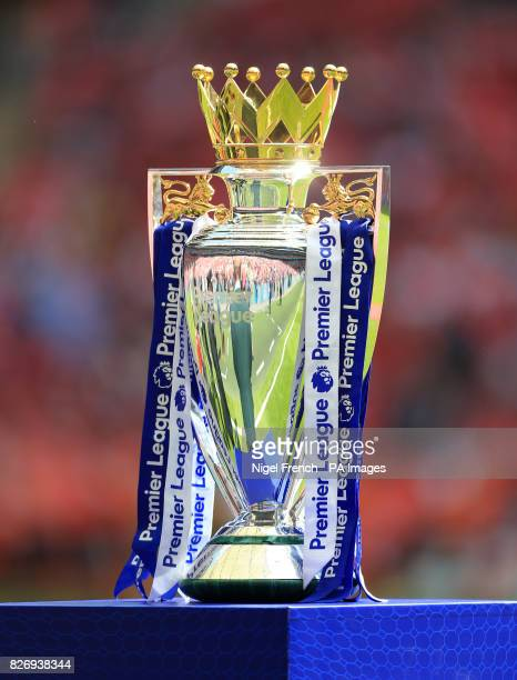 The Premier League trophy during the Community Shield at Wembley London