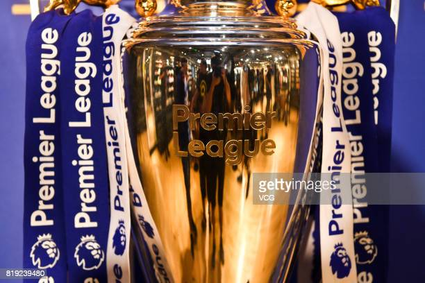 The Premier League trophy is displayed at an activity of Chelsea FC ahead of the PreSeason Friendly match between Chelsea and Arsenal on July 20 2017...