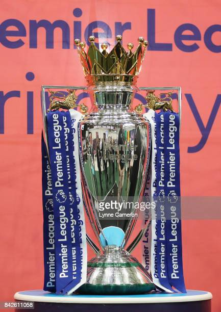 The Premier League trophy is displayed during day 1 of the Soccerex Global Convention at Manchester Central Convention Complex on September 4 2017 in...