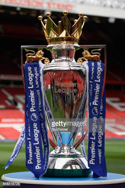 The Premier League trophy is seen inside the stadium prior to the Premier League match between Manchester United and Everton at Old Trafford on...