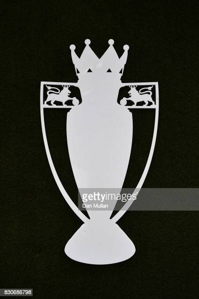 The Premier League trophy outline is seen outside the stadium proir to the Premier League match between Chelsea and Burnley at Stamford Bridge on...