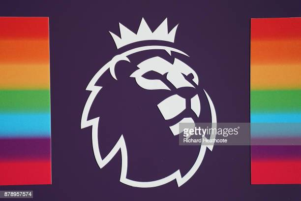 The Premier leauge logo is seen on the clubs armband with rainbow stripes for the Stonewall Rainbow Laces campaign prior to the Premier League match...