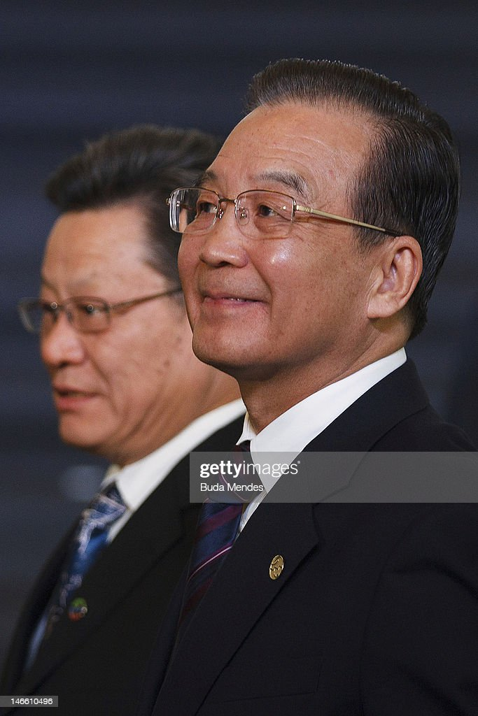 The Premier of the State Council of the Republic of China <a gi-track='captionPersonalityLinkClicked' href=/galleries/search?phrase=Wen+Jiabao&family=editorial&specificpeople=204598 ng-click='$event.stopPropagation()'>Wen Jiabao</a>, during the UN Conference on Sustainable Development Rio+20 family photo, on June 20, 2012 in Rio de Janeiro, Brazil.