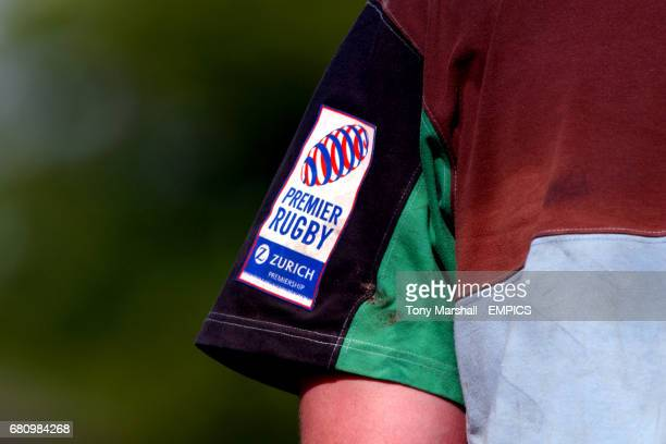 The Premier Rugby logo on the arm of a NEC Harlequins shirt