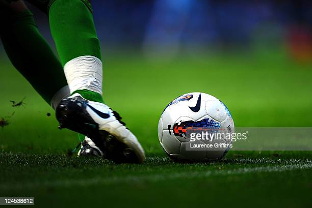 The Premiership match ball during the Barclays Premier League match between Manchester City and Wigan Athletic at Etihad Stadium on September 10 2011...