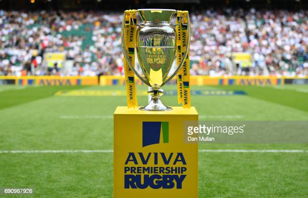 The Premiership Trophy is displayed prior to the Aviva Premiership Final between Wasps and Exeter Chiefs at Twickenham Stadium on May 27 2017 in...