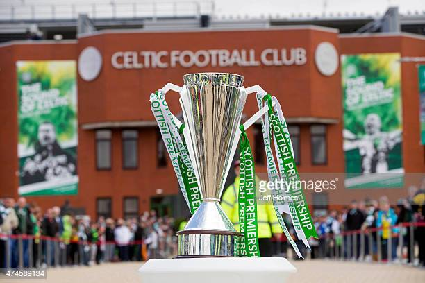 The Premiership trophy on display in front of the stadium ahead of the Scottish Premiership match between Celtic and Inverness Caley Thistle at...