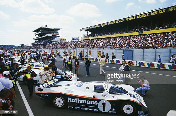 The prerace line up of cars before the 24 Hours of Le Mans 15th June 1985 In the foreground is a Rothmans Porsche 962C driven by Jacky Ickx and...