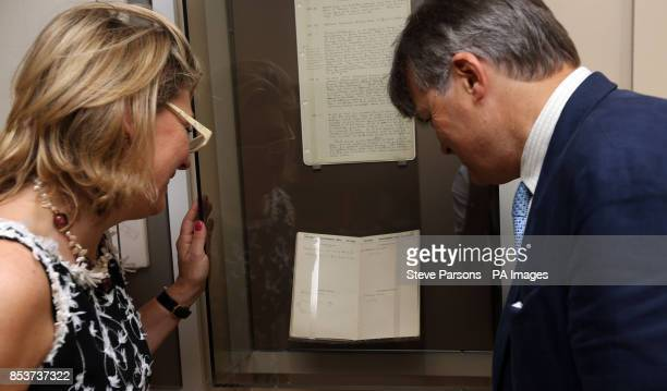 The present Lord and Lady Carnarvon look at the diary of Howard Carter who along with the 5th Earl of Carnarvon excavated the tomb of Tutankhamun in...
