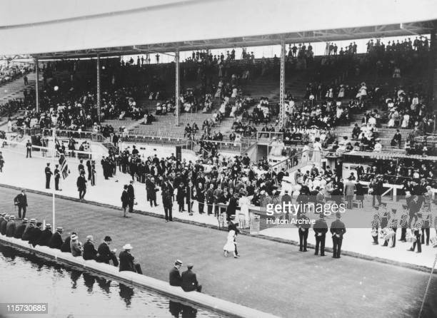 The presentation of medals during the 1908 Summer Olympics in London