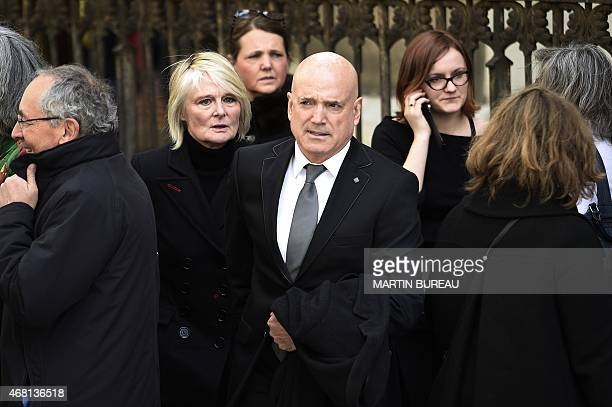 The presenter of the French reality show Dropped Louis Bodin arrives at SaintSeverin church to attend the funeral of French sailor Florence Arthaud...