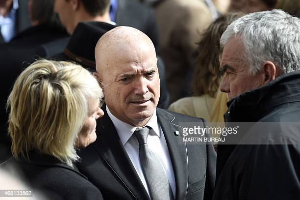 The presenter of the French reality show Dropped Louis Bodin leaves SaintSeverin church after the funeral of French sailor Florence Arthaud in Paris...