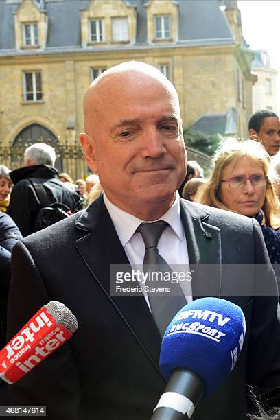 The presenter of the French reality show 'Dropped' Louis Bodin leaves SaintSeverin church after the funeral of French sailor Florence Arthaud on...
