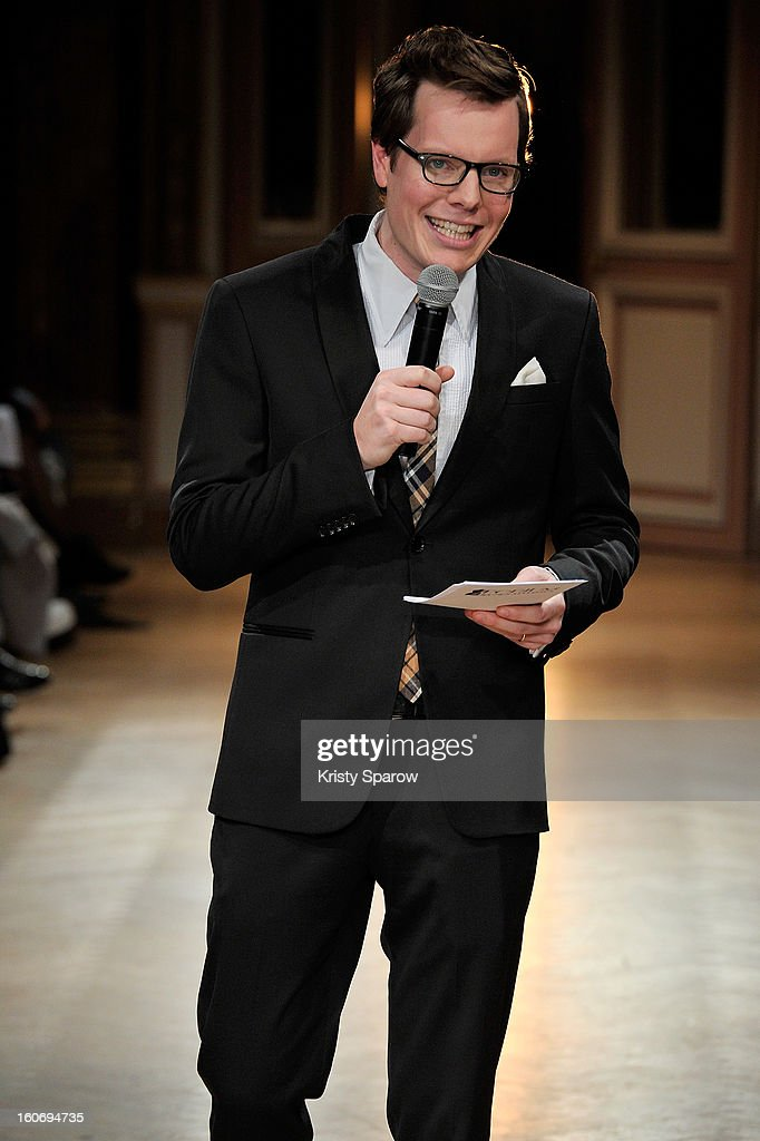 The presenter speaks to the audience during the 'New Stylists Podium, 4th Edition' Fashion Show at the Hotel Westin on February 4, 2013 in Paris, France.