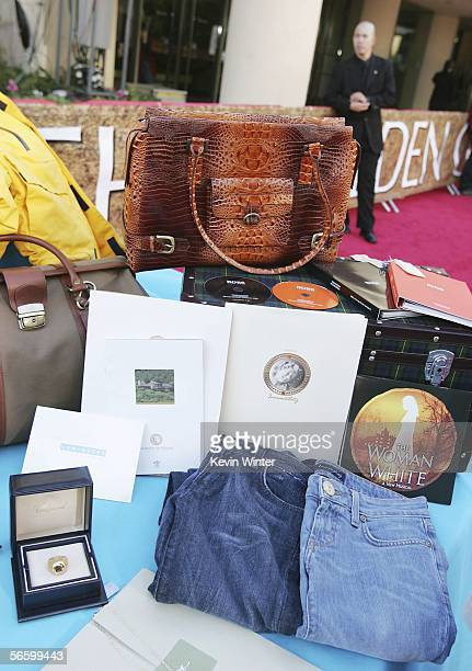 The presenters Gift Box valued at $62 is displayed outside the Beverly Hilton Hotel Preparations for the 63rd Annual Golden Globes are underway at...