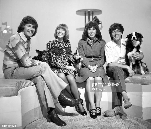 The presenters of children's television programme 'Blue Peter' in 1972 LR Peter Purves Lesley Judd Valerie Singleton and John Noakes who is with his...