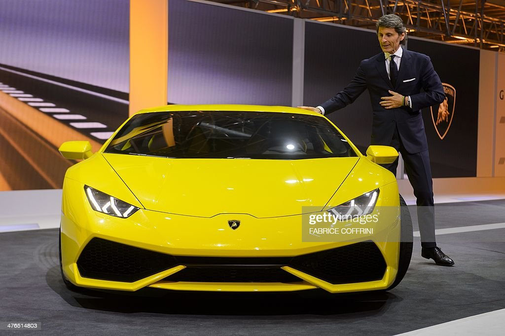 The President and CEO of Lamborghini Stephan Winkelmann introduces the new Lamborghini Huracan as World premiere during a preview show by Volkswagen...