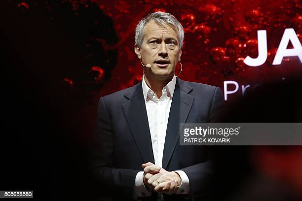 The President and chief operating officer of the CocaCola company James Quincey speaks during the presentation of a new advertising campaign on...