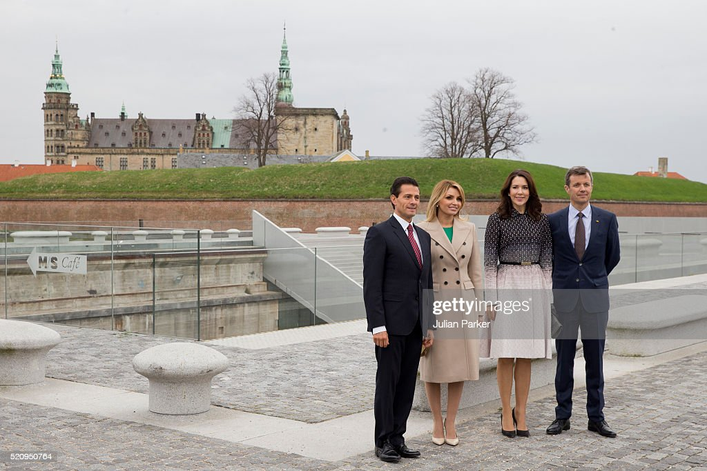 The President, and his wife are accompanied by Crown Princess Mary, and Crown Prince Frederik of Denmark on a visit to Kronberg Castle, and the M/S Maritime Museum of Denmark, during the State visit of the President of The United Mexican States, President Enrique Pena Nieto, and his wife Angelica Rivera to Denmark on April 13, 2016, in Helsingor, Denmark