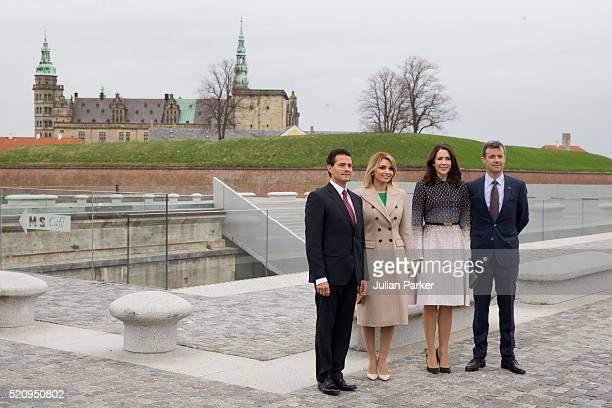 The President and his wife are accompanied by Crown Princess Mary and Crown Prince Frederik of Denmark on a visit to Kronberg Castle and the M/S...