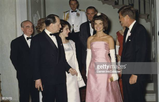 The President and Mrs Kennedy attend a dinner May 11 1962 in honor of Minister of State for Cultural Affairs of France Andre Malroux left