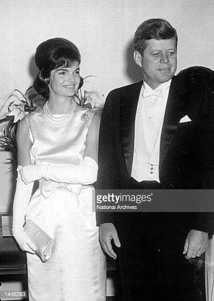 The President and Mrs Kennedy attend a White House ceremony April 19 1961 in Washington DC