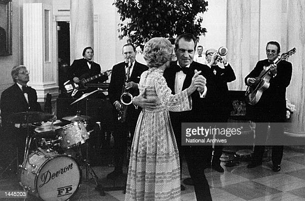 The President and Mrs Nixon dance at a White House reception September 27 1973 in Washington DC