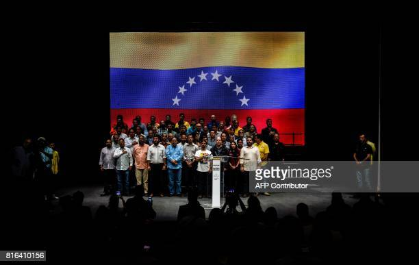 The president and vicepresident of Venezuela's oppositioncontrolled National Assembly Julio Borges and Freddy Guevara respectively and other deputies...