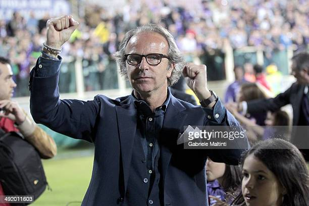The President Andrea Della Valle greet the public in Florence at the end of the match during the Serie A match between ACF Fiorentina and Torino FC...