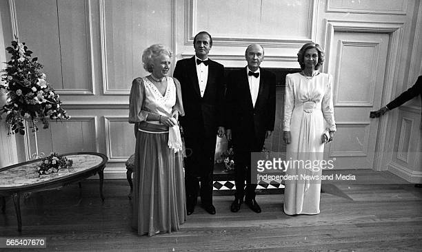 The President Dr Patrick Hillery and his wife Meave with the King of Spain Juan Carlos and Queen Sophia at the state banquet in the Royal Hospital...