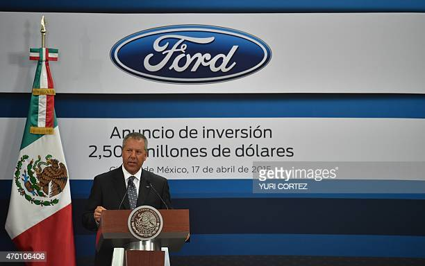 The president for the Americas of Ford Motor Company Joseph Hinrichs smiles while speaking at Los Pinos presidential palace in Mexico City on April...