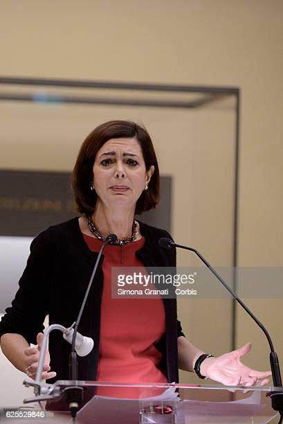 ROME ITALY NOVEMBER The President Laura Boldrini during the meeting in Sala della Lupa Chamber of Deputies 'Safe from fear safe from violence' in...
