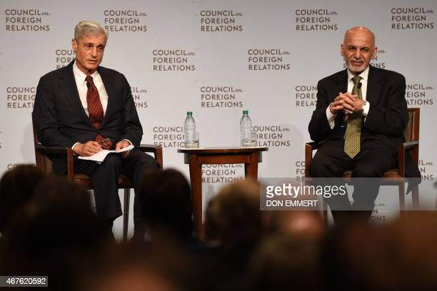 The President of Afghanistan Ashraf Ghani answers questions from Robert Rubin cochair Council on Foreign Relations at the Council on Foreign...