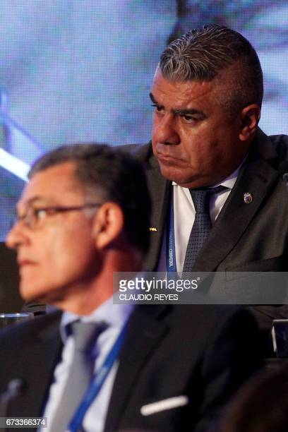 The President of Argentina's Football Association Claudio Tapia takes part in the 67th Ordinary CONMEBOL Congress in Santiago on April 26 2017 / AFP...