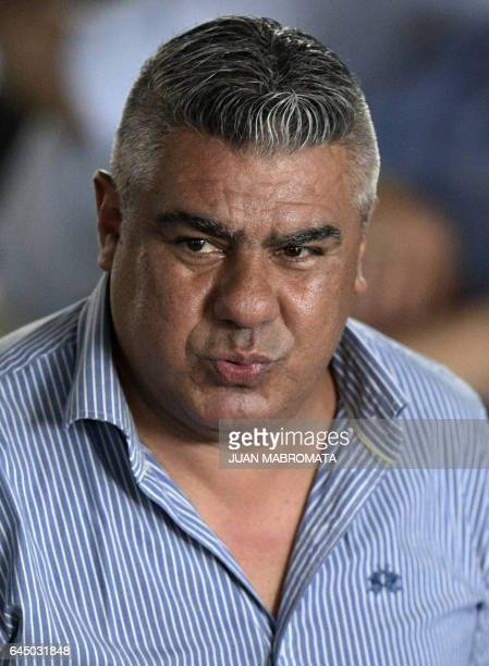 The president of Argentinian football team Barracas Central Claudio Tapia gestures during a meeting at Argentina's Football Association training camp...