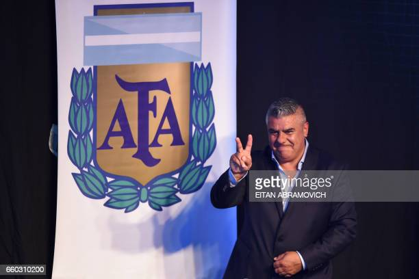 The president of Argentinian football team Barracas Central Claudio Tapia flashes the Vsign after being elected President of Argentina's Football...