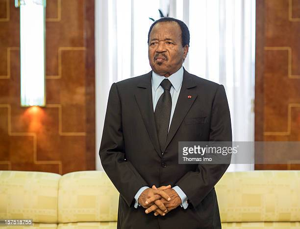 The President of Cameroon Paul Biya at a meeting on October 29 2012 in the capital city of Yaounda Cameroon