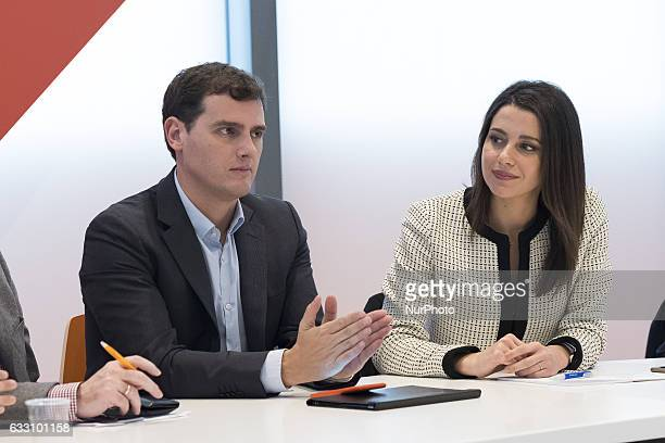 The President of Citizens Albert Rivera and Ines Arrimadas during a press conference that offered the headquarters of the party of Citizens in Madrid...