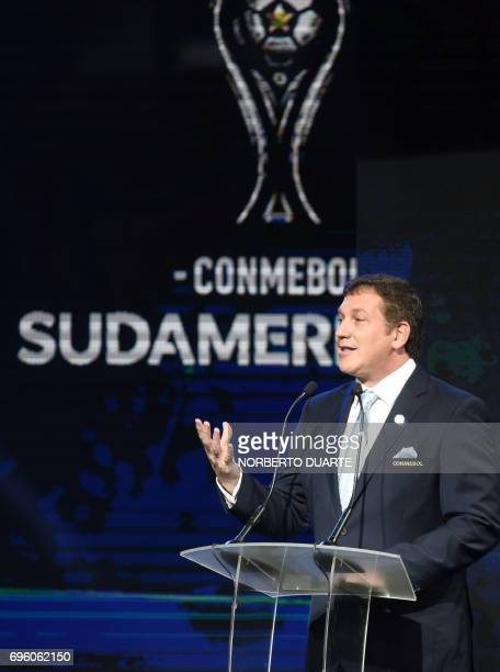 The president of CONMEBOL Alejandro Dominguez speaks during the Libertadores Cup round of 16 draw and the Sudamericana Cup second round draw in Luque...
