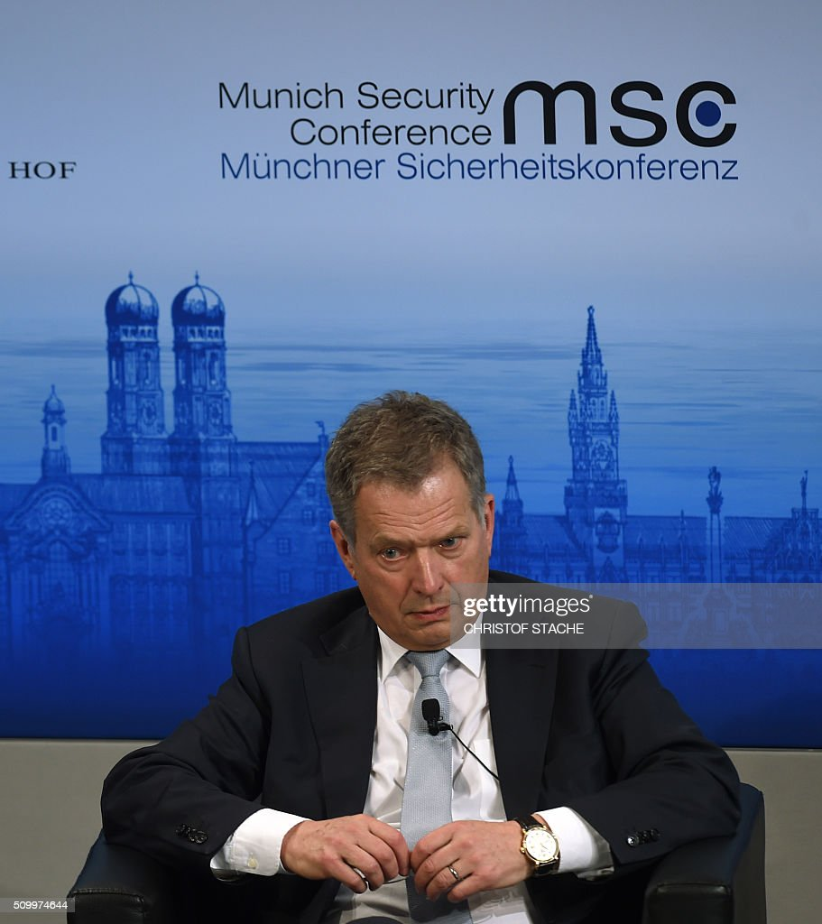 The President of Finland Sauli Niinistoe takes part in the panel discussion during the second day of the 52nd Munich Security Conference (MSC) in Munich, southern Germany, on February 13, 2016. / AFP / Christof STACHE