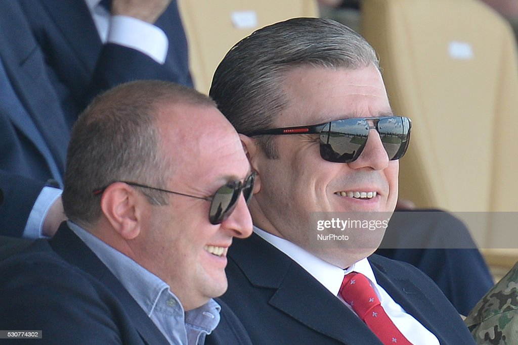 The President of Georgia, <a gi-track='captionPersonalityLinkClicked' href=/galleries/search?phrase=Giorgi+Margvelashvili&family=editorial&specificpeople=10916956 ng-click='$event.stopPropagation()'>Giorgi Margvelashvili</a>, and The Prime Minister of Georgia, Giorgi Kvirikashvili, during the opening ceremony of the Exercise Noble Partner 16, a Georgian, British and U.S. military training exercise taking place at Vaziani Training Area, Georgia, May 11-26, 2016. Exercise Noble Partner includes approximately 500 Georgian, 150 United Kingdom and 650 U.S. service members who are incorporating a full range of equipment, including U.S. M1A2 Abrams Main Battle Tanks, M2A3 Bradley Infantry Fighting Vehicles, M119 Light Towed Howitzers and several wheeled support vehicles. Alongside U.S. forces, Georgian forces will operate their T-72 Main Battle Tanks, BMP-2 Infantry Combat Vehicles and several wheeled-support vehicles. Wednesday, 11 May 2016, in Vaziani, Georgia.