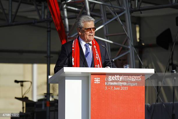 The President of Germany Joachim Gauck talks at the opening ceremony of the 35th German Protestant Church Congress German President Joachim Gauck the...