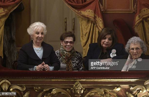 The president of Human Rights organization Abuelas de Plaza de Mayo Estela de Carlotto attends a gala in homage of Chilean singer and songwriter...