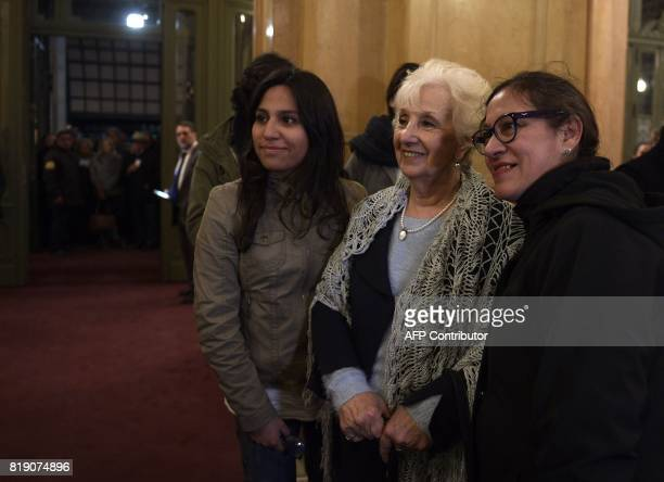 The president of Human Rights organization Abuelas de Plaza de Mayo Estela de Carlotto poses for a picture during a gala in homage of Chilean singer...