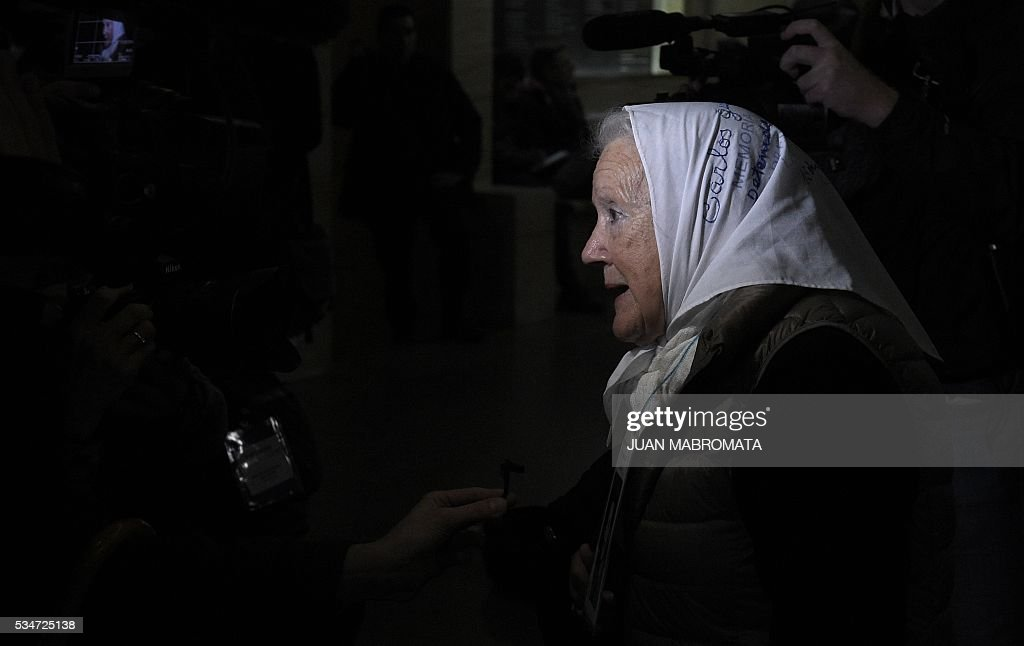 The President of human rights organization Madres de Plaza de Mayo, Nora Cortinas, talks to the media before hearing the sentence to be handed down by the court in the trial on Operation Condor, in which six South American dictatorships collaborated to torture and kill their opponents, in Buenos Aires on May 27, 2016. South American ex-military leaders faced judgment Friday for their alleged role in the torture and assassination of leftist dissidents during a US-backed crackdown by the region's dictatorships during the 1970s and 1980s. Argentine judges were considering their verdict in the trial of 18 former army officers accused of taking part in 'Operation Condor.' In that scheme, the military regimes of Argentina, Bolivia, Brazil, Chile, Paraguay and Uruguay helped each other track down and kill leftist dissidents. On Friday, the court convened to deliver its verdict after a three-year trial -- the first to try the crimes committed under the Condor plan / AFP / JUAN