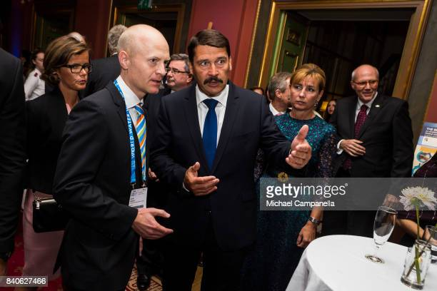 The president of Hungary Janos Ader attends a ceremony for the Stockholm Junior Water Prize at Grand Hotel on August 29 2017 in Stockholm Sweden