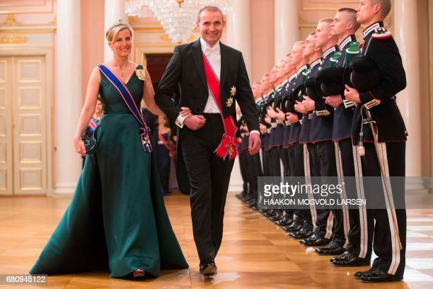The President of Iceland Gudni Johannesson and Princess Sophie Countess of Wessex arrive for a gala dinner at the Royal Palace in Oslo Norway on May...
