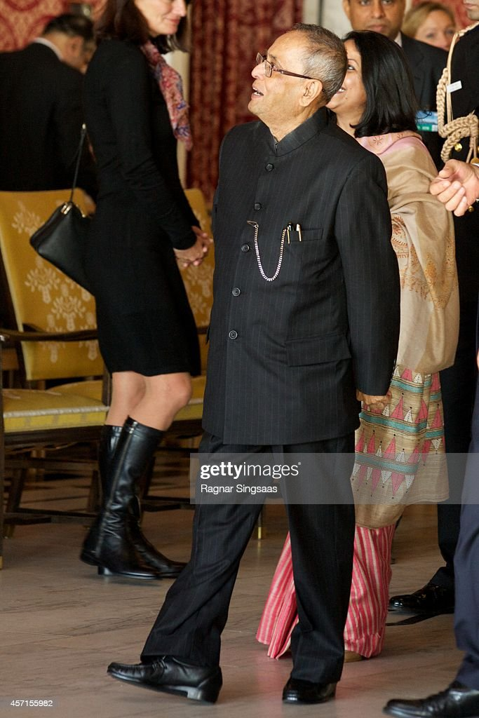 The President of India Pranab Mukherjee attends a guided tour at the Oslo City Hall during the first day of the state visit from India on October 13, 2014 in Oslo, Norway.