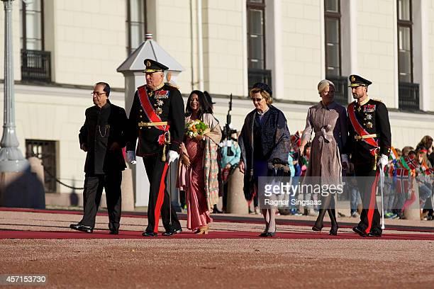 The President of India Pranab Mukherjee King Harald V of Norway daughter of Pranab Mukherjee Sharmistha Mukherjee Queen Sonja of Norway Princess...
