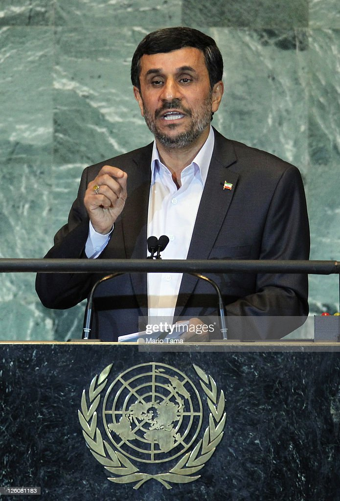 The President of Iran Mahmoud Ahmadinejad speaks during the United Nations General Assembly at UN headquarters on September 22 2011 in New York City...